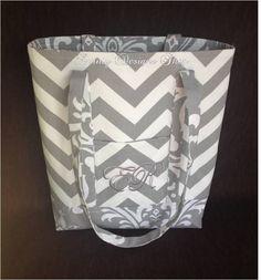 "SALE - 12"" x 14"" Grey Chevron Tote Bag with Coordinating Grey Damask - FREE Grey Monogram by daintydesignsshop on Etsy"
