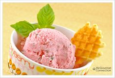 Strawberry-Basil Frozen Yogurt: Fresh strawberries and basil are a delicious flavor combination for a light and refreshing frozen yogurt dessert.