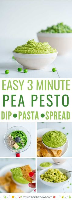 Pea Pesto An easy pea pesto recipe, perfect with pasta or as a spread on crostini. A healthy pesto recipe made without basilAn easy pea pesto recipe, perfect with pasta or as a spread on crostini. A healthy pesto recipe made without basil Pesto Dip, Pea Recipes, Baby Food Recipes, Gourmet Recipes, Cooking Recipes, Healthy Meals For Kids, Healthy Snacks, Healthy Dip Recipes, Vegans