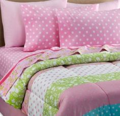 Amazon.com - Pink, White & Green Polka Dot Girls Full Comforter Set (8 Piece Bed In A Bag)