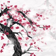 Papier peint japonais cerisier en fleur chambre b b pinterest design e - Papier peint fleur de cerisier japonais ...