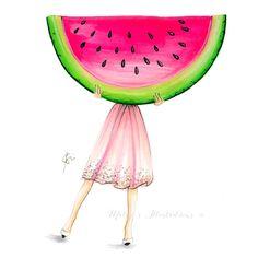 The Watermelon (Fashion Illustration Art - Fashion Sketch prints - Home Decor - Wall Decor ) Watermelon Pictures, Watermelon Art, Watermelon Illustration, Illustration Girl, Watermelon Wallpaper, Frozen Wallpaper, Bff Drawings, Copic Art, Cute Cartoon Wallpapers
