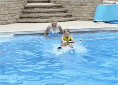 Dog jumps on girl in swimming pool. Gif Bin is your daily source for funny gifs, reaction gifs and funny animated pictures! Large collection of the best gifs. Funny Dog Fails, Dog Memes, Funny Dogs, Funny Memes, Funny Stuff, Jokes, Funny Animal Images, Funny Animals, Dog Humor