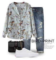 """""""Bird Print 2338"""" by boxthoughts ❤ liked on Polyvore featuring Hollister Co., Chicnova Fashion, Valentino and Vans"""