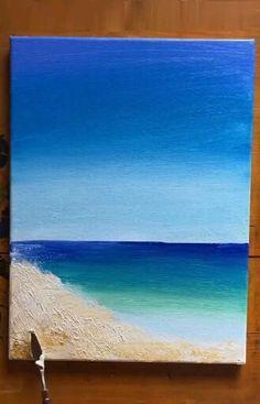 Beach Canvas Paintings, Beach Canvas Art, Ocean Canvas, Small Canvas Art, Diy Canvas Art, Seascape Paintings, Beach Art, Acrylic Painting Canvas, Canvas Painting Tutorials