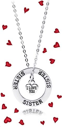 "Share your special bond with this beautiful ""Sister I Love You"" Necklace - Save 80% off! Sale ends April 7th 2015 @ 12 pm."