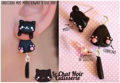 Kawaii Earrings Cat Stud, black cute cat jewelry gift, kitten stud for cat lover, polymer clay handmade Cute Earrings, Etsy Earrings, Earrings Handmade, Super Glue, Cat Jewelry, Jewelry Gifts, Jewelry Ideas, Cat Lover Gifts, Cat Lovers