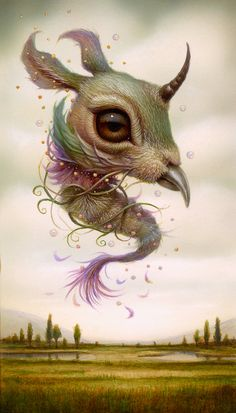 """""""Lucid Dreamer 3 x inches, acrylic on board — with Naoto Hattori. Unicorn Pictures, Alien Concept Art, Surrealism Painting, Lowbrow Art, Wow Art, Japanese Artists, Monster, Surreal Art, Illustration Art"""