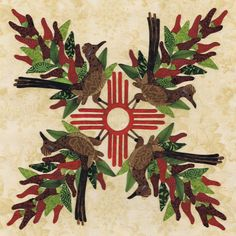 New Mexico block. American Album applique pattern by Pearl P. Pereira   P3 Designs.  Chile ristra and roadrunner.