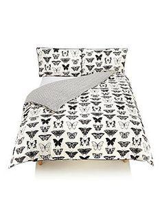 Black Mix Graphite Butterfly Print Bedding Set
