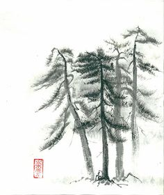 Print of Sumi-e Paintings Pine trees in fog Set of by ZenPresent