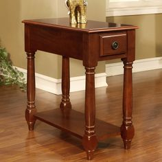 Cherry Rectangular Occasional Wood Accent Chair Side Table Display Panel Shelf $88.99