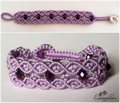 Macrame double wave bracelet. This lace-looking pattern is so elegant i want to try it in every color! Video tutorial by Macrame School: https://www.youtube.com/watch?v=XTk_yqhGwiA