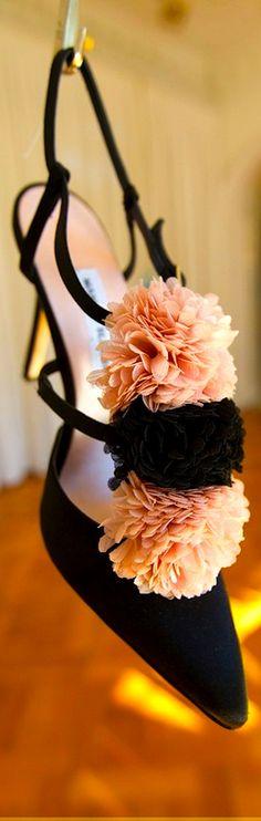 Manolo Blahnik black slingback pumps with peach and black flowers