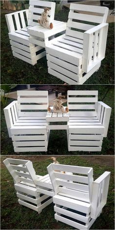 The joint items like this shipping pallet made double chair looks great when a couple lives in a home. The pallets are painted with white paint with the table attached in the center of the chairs to join them; it is a good idea to enjoy coffee in cold winter morning.