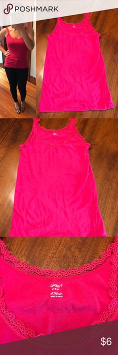 GAP lace trim top GAP lace trim top in pink, size small. Shirt is in good used condition. Very comfortable and has good stretch. 93% cotton, 7% spandex. Machine wash and tumble dry. GAP Tops