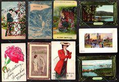 11 POSTCARD Antique Vintage PLACES 1908-1917 1+2c stamps City Mid-West USA towns