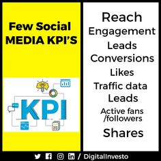 """Want to know more about social media KPI's? Key Performance Indicators are needed in Social Media Marketing to meet the targeted requirements. Here are a few Social Media KPI's for you. Learn all the Social Media KPI's with digital investo and meet your all Social Media KPI targets.""""Strategic-operational KPIs alignment gives the organization a powerful tool to use when implementing change.""""For more interesting post updates follow our Social Media Channels and subscribe to our Website. Social Media Channels, More Fun, Social Media Marketing, Meet, Student, Change, Website, Learning, Digital"""