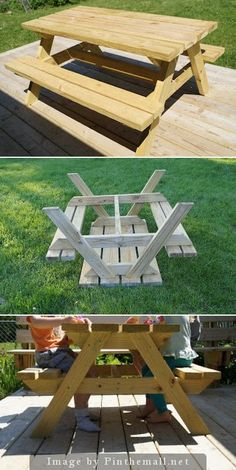 Diy Kids Sized Picnic Table Diy Kids Sized Picnic Table Easy Diy Kid Sized Picnic Table My Husband Built This While I Was Grocery Shopping One Saturday Morning Not To Diy Kid Sized Picnic Table Kids Picnic Table Plans, Build A Picnic Table, Wooden Picnic Tables, Toddler Picnic Table, Backyard Picnic, Diy Pallet Projects, Outdoor Projects, Easy Diys For Kids, Kids Diy
