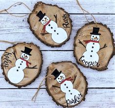 Snowman Christmas Ornament Wood Slice Hand Painted Rustic Tree Ornament Hanging made to order. Snowman Christmas Ornament Wood Slice Hand Painted Rustic Tree Ornament Hanging made to order, custo, Snowman Christmas Ornaments, Ornament Crafts, Diy Christmas Gifts, Rustic Christmas, Christmas Art, Holiday Crafts, Christmas Decorations, Snowman Tree, Wood Ornaments