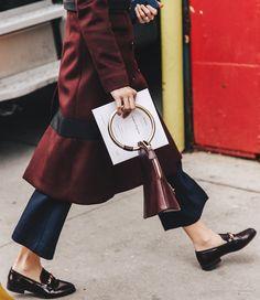 cores, marsala, pantacourt, mocassim, acessórios, street style, sobretudo