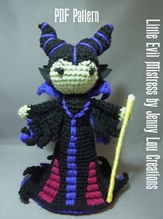 "Now you can make your own Little Evil Mistress inspired by Maleficent. Finished doll stands about 9"" tall."
