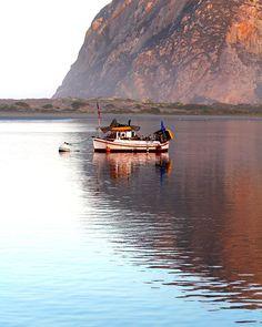 Morro Bay California Early Sunrise Boat Blue Water Calm Reflections Sunshine Fine Art Print Photography Digital Painting
