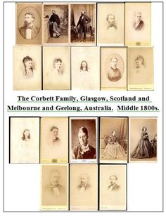 Photographs ~ CORBETT Family of GLASGOW and MELBOURNE Scotland Australia Named  (18 Images) ~ Jpeg & Zips Victorian Middle 1800s by Toppco on Etsy