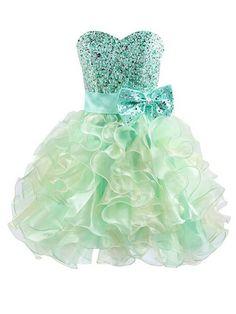 beautiful prom dresses,Sage A-line Sweetheart Short Mini Organza