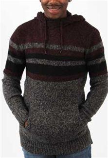 feebf384b2 Retrofit+Striped+Hooded+Sweater+for+Men +in+Burgundy+and+Black+SYR8-4190H-BLK BURG