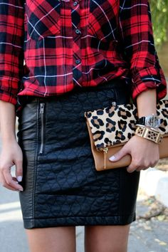 Quilted Skirt And Check Shirt Outfit