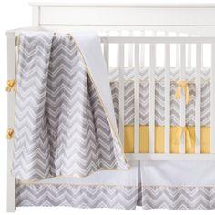 JoJo Designs Gray, Yellow, and White Zig Zag Yellow 9pc Crib set