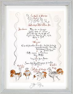 Signed, Hand-Drawn Menu: La Boules des Dimanches by Jacques Pepin
