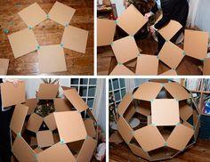 Makedo How to Make: Giant Cardboard Windball – Makedo Cardboard Construction Cardboard Forts, Cardboard Crafts Kids, Cardboard City, Cardboard Recycling, Cardboard Furniture, Diy Home Crafts, Crafts For Kids, Cool Forts, Diy Karton