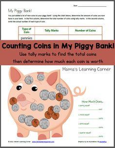 Counting Coins in my Piggy Bank! Tally Marks worksheet