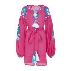 March11 Fuchsia Flower Pixel Mini Dress ($980) ❤ liked on Polyvore featuring dresses, v neck mini dress, mini dress, fuschia pink dress, fuchsia dress and linen dress