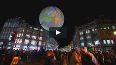 "A film by Claude Mossessian © Claude Mossessian  Miguel CHEVALIER ""Origin of the World Bubble 2018"", Lumiere London, London (UK) Generative virtual-reality…"
