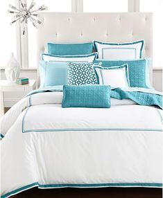 Beautiful bedroom design with a coastal look. Hotel Collection Embroidered Frame Bedding Collection, Only at Macy's - Bedding Collections. Turquoise Bedding, Aqua Bedding, White Bedding, Modern Bedding, Turquoise Home Decor, Colorful Bedding, Coastal Bedding, Boho Bedding, Aqua Bedrooms
