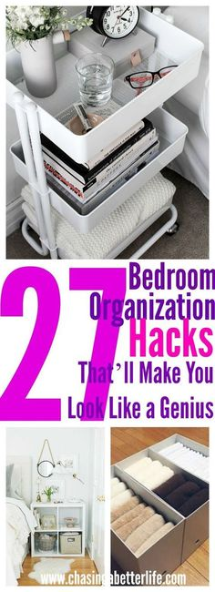 These 27 bedroom organization ideas are such great home hacks! I'm so happy I found these AMAZING organization ideas! Now I have some great home organization ideas and hacks! Organisation Hacks, Organizing Hacks, Bedroom Organization Diy, Diy Hacks, Cosmetic Organization, Organising Ideas, Craft Organization, Ikea Hacks, Bedroom Hacks