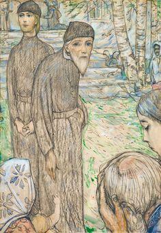 "Elder Zosima, 1982 year  Illustration for F. Dostoevsky's novel ""The Brothers Karamazov""  Paper, black oiled chalk, pastel. 86,5×60"