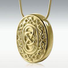 Oval Celtic 14k Gold Vermeil Cremation Jewelry - Engravable