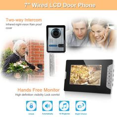 "FLOUREON® High Quality Wired 7"" TFT LCD Display Video Door Phone Home Entry Intercom System Doorbell Security Intercom Night Vision 6 LEDs IR CCTV Camera Door Bell Colourful Video Intercom Kit (1Camera +1Monitors)"