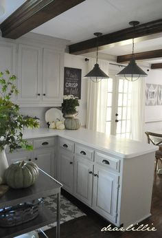 """This would be like my kitchen (minus the sealing beams) if I changed the single wide """"dutch door"""" to french doors onto the patio deck. This is where we took down the overhead cabinet over the peninsula counter."""