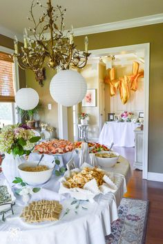 Southern Garden Party Bridal Shower Ideas- grand food table setup