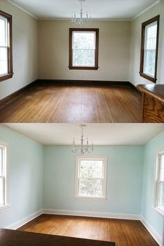 A before and after of our trim, now painted white.