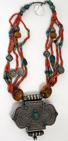 Old box pendant necklace with Amber, Turquoise, coral and silver beads. Originally from Tibet or Nepal. Circa 1920's