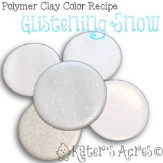 Polymer Clay Color Recipe for Glistening Snow by KatersAcres   CLICK for more FREE polymer clay color recipes