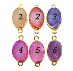 24 kt Gold Plated Druzy Connectors   Mix colour by finegemstone, $10.00