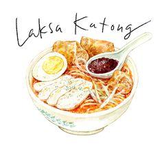 Laksa Katong, asian food watercolor illustration