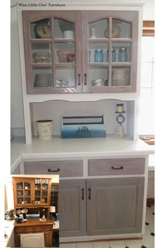 Modern farmhouse look created on a china cabinet with a combination of paint and stains. Learn what products and how to use them to achieve this bright and natural look in your home. #paintedfurniture #dixiebellepaint #bestpaintonplanetearth Office Chair Makeover, Diy Dresser Makeover, Cabinet Makeover, Furniture Makeover, Diy Furniture Projects, My Furniture, Upcycled Furniture, Home Projects, Painted Furniture